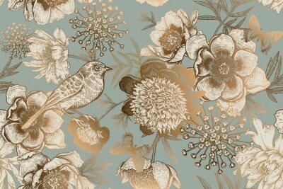 Fototapeta Seamless pattern with peonies, bird and butterflies. Vintage.