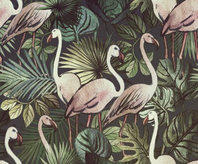 Fototapeta Seamless pattern with tropical leaves and pink flamingos. Tropical  background.