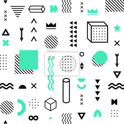 Seamless pattern with vector geometric shapes. Trendy graphic elements.