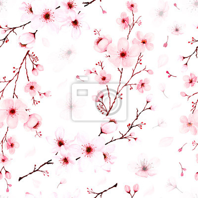 Fototapeta Seamless pattern with watercolor cherry blossom branches hand painted.