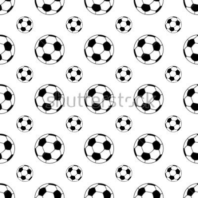 Fototapeta Seamless patterns from a soccer ball. Black and white. Vector illustration.
