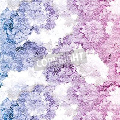 Fototapeta Seamless peony mosaic. Pink blue flower pattern. Peony texture Vector illustration.