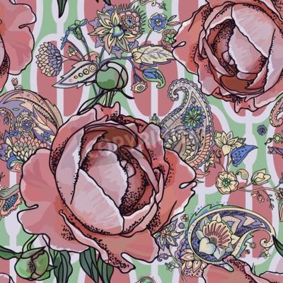Fototapeta Seamless trend pattern - peony flowers and paisley.