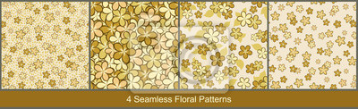 Fototapeta Seamless vector floral patterns abstract tiny flowers in gold-beige colors on light background. Set of ditsy floral prints