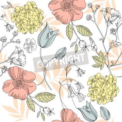 Fototapeta seamless vintage flower pattern, floral vector