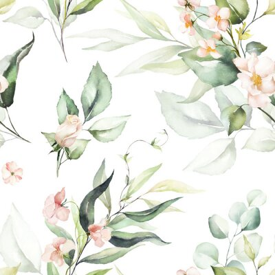 Fototapeta Seamless watercolor floral pattern - pink flowers, green leaves & branches on white background; for wrappers, wallpapers, postcards, greeting cards, wedding invitations, romantic events.
