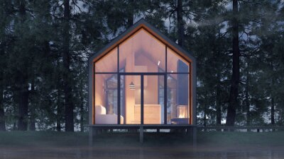 Fototapeta Secluded tiny house on the sandy shore of a lake with fog in a coniferous forest in the cold night light and with warm light from the Windows. Stock 3D illustration