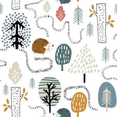 Fototapeta Semless leśny wzór z jeżami. Dziecinna tekstura w stylu skandynawskim do tkanin, tekstyliów, odzieży, dekoracji szkółkarskich. Ilustracji wektorowych