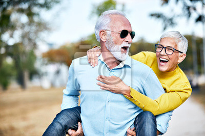 Fototapeta senior couple happy elderly love together