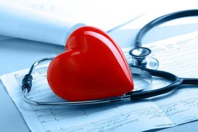 Fototapeta Serca z stetoskopem, miej serce i patrz w serce - szpital z powołania