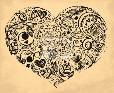 Fototapeta Serce rysowane ręcznie Wektor