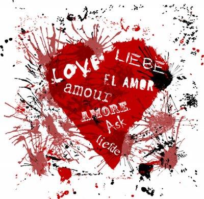 """Fototapeta serce z napisem """"miłość """" w różnych językach, grungy stylu"""