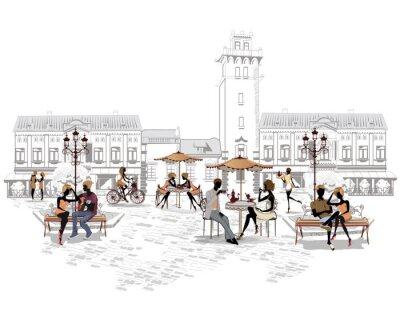 Seria kawiarni ulicznych w mieście z osób pijących kawę
