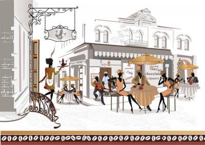 Fototapeta Seria kawiarni ulicznych z muzyk i kucharza