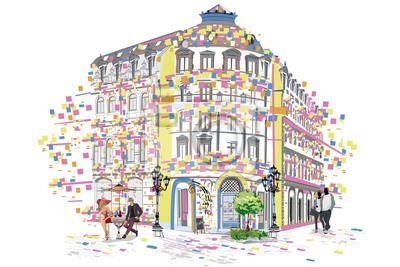 Seria kolorowych widoków na ulicę w starym mieście. Ręcznie rysowane tło architektoniczne wektor z zabytkowych budynków.