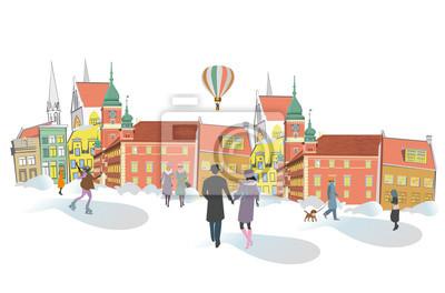 Seria kolorowych widoków ulicznych na starym mieście w zimie. Ręcznie rysowane tła architektoniczne z zabytkowych budynków.
