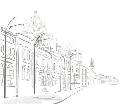 Seria szkiców starych miastach ulice
