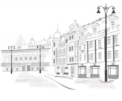Fototapeta Seria szkiców starych miastach ulice