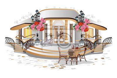 Seria tła ozdobiona kwiatami, widokami starego miasta i ulicznymi kawiarniami.