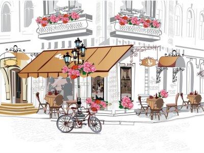 Seria tła ozdobione kwiatami, starymi widokami miasta i kawiarni ulicznych.