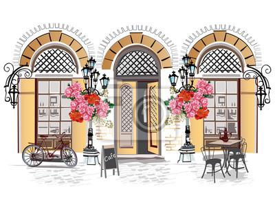 Seria tła ozdobione kwiatami, starymi widokami miasta i kawiarni ulicznych. Ręcznie rysowane ilustracji wektorowych.