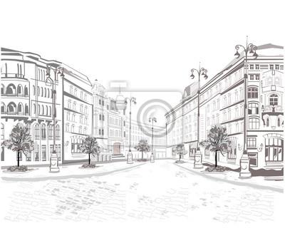 Seria tła ozdobione starymi widokami miasta.