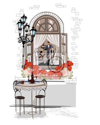 Seria tła ozdobione starymi widokami miasta i kawiarni ulicznych. Ręcznie rysowane ilustracji wektorowych.