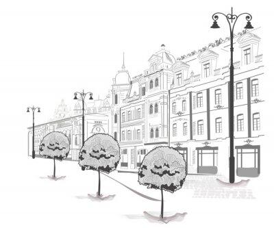 Fototapeta Seria ulic w mieście w szkicach