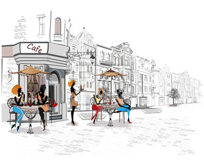 Seria ulic z ludźmi w starej części miasta. Kelnerzy służą tabele.