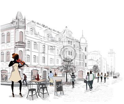 Seria ulic z ludźmi w starym mieście, muzyków ulicznych.