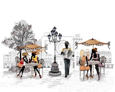Seria ulicy poglądów z ludźmi i muzyków na starym mieście