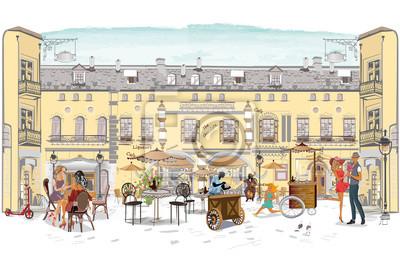 Seria ulicznych kawiarni z ludźmi mody, mężczyzn i kobiet, w starym mieście, ilustracji wektorowych. Kelnerzy obsługują stoły.