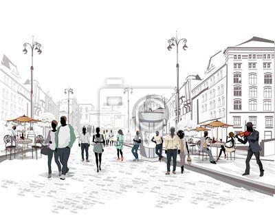 Seria widokiem na ulicę z ludźmi w starym mieście