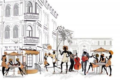 Fototapeta Seria widoków ulic w starej części miasta z kawiarni