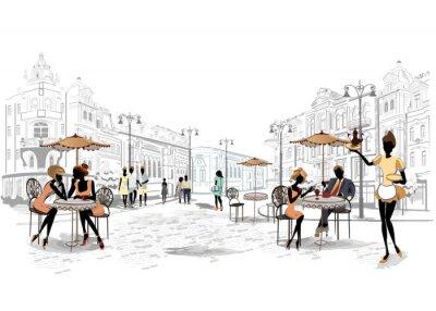 Seria widoków ulic w starej części miasta z kawiarni