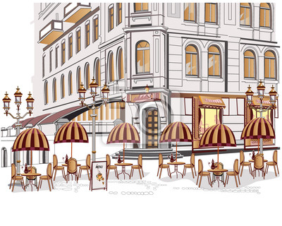 Seria z widokiem na ulicę z kawiarni na starym mieście