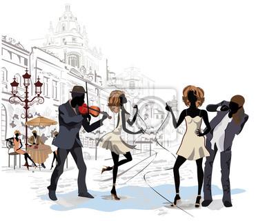 Seria z widokiem na ulicę z muzykami