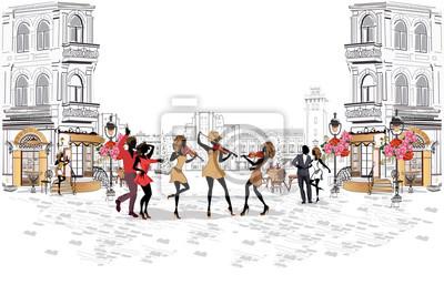 Serie ulic z muzykami i parami tańczącymi w starym mieście. Ręcznie rysowane ilustracji wektorowych z budynkami retro.