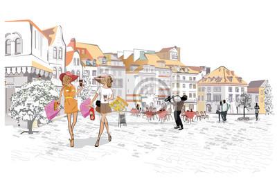 Serie uliczne kawiarnie z ludźmi, mężczyzna i kobietami, w starym mieście, wektorowa ilustracja.