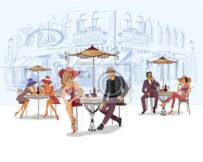 Serie uliczne kawiarnie z ludźmi, mężczyzna i kobietami, w starym mieście, wektorowa ilustracja. Kelnerzy obsługują stoły.