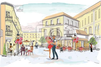Serie uliczne kawiarnie z ludźmi, mężczyzna i kobietami, w starym mieście, wektorowa ilustracja. Romantyczna para.
