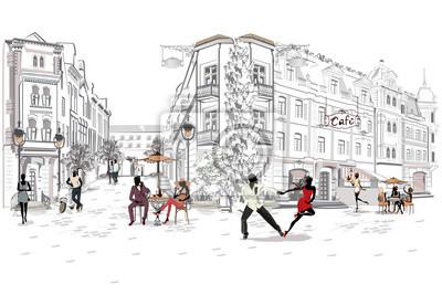 Serie uliczne kawiarnie z ludźmi, mężczyzna i kobietami, w starym mieście, wektorowa ilustracja. Tancerze salsy.