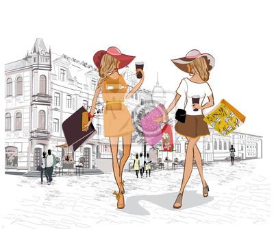 Serie uliczne kawiarnie z ludźmi, mężczyzna i kobietami, w starym mieście, wektorowa ilustracja. Zakupy dziewczyn.