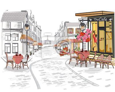 Serie widoków ulicy w starym mieście. R? Cznie rysowane wektora tle architektury z zabytkowymi budynkami.