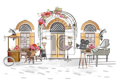 Series of backgrounds decorated with flowers, old town views and street cafes.    Hand drawn vector architectural background.