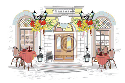 Series of backgrounds decorated with flowers, old town views and street cafes.    Hand drawn vector architectural background with historic buildings.