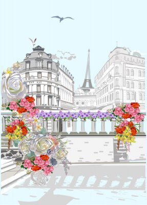 Series of colorful street views in the old city decorated with flowers. Hand drawn vector architectural background with historic buildings.