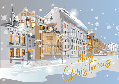 Series of colorful street views in the old city in winter. Hand drawn vector architectural background with historic buildings.