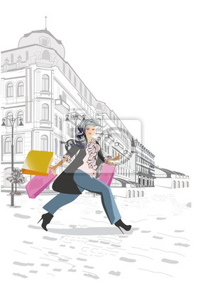 Series of retro street views with fashion people in the old city. Hand drawn vector architectural background with historic buildings. Street musicians.