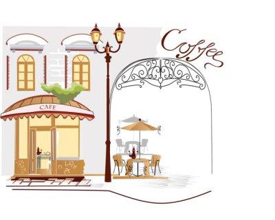 Fototapeta Series of street cafe